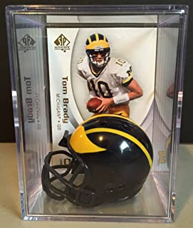 baefa3c6943 Michigan Wolverines NCAA Helmet Shadowbox w/ Tom Brady card