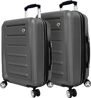 Mia Toro Italy Moderno Hardside Spinner Luggage 2pc Set, Silver