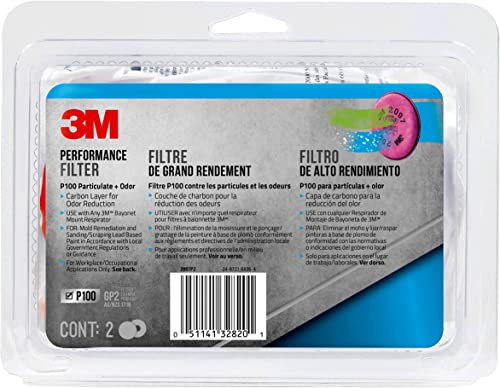 3M P100 Particulate Filter with Nuisance Level Organic Vapor Release, 2-Pair