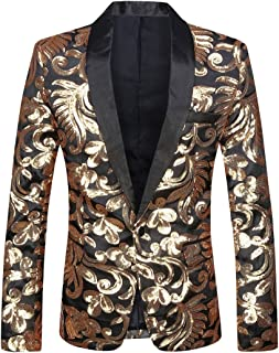 Men Stylish Satin Face Sequins Floral Pattern Suit Jacket Blazer