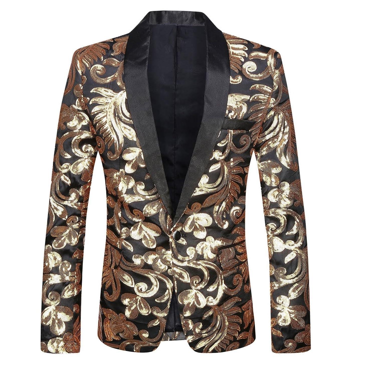 PYJTRL Men Stylish Satin Face Sequins Floral Pattern Suit Jacket Blazer