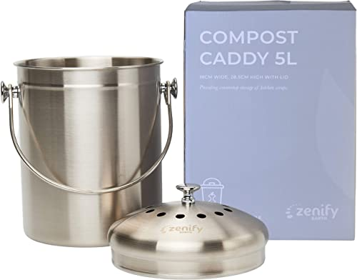 Zenify Earth Stainless Steel Compost Bin Kitchen Countertop 5L - Odourless Double Charcoal Caddy - Australian Owned