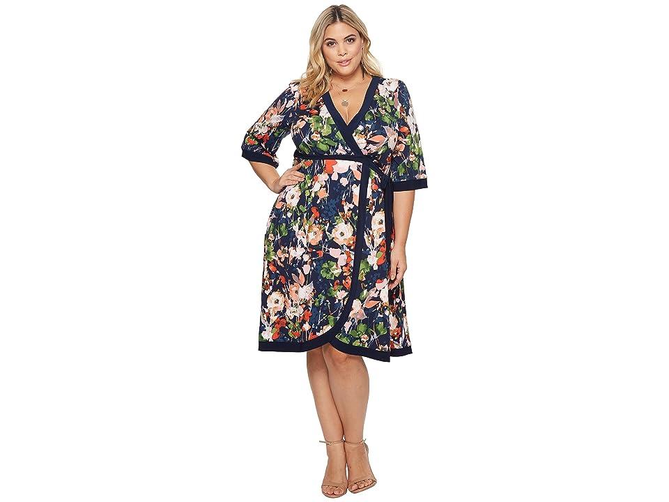 Kiyonna Weekend Wrap Dress (Spring Flora) Women