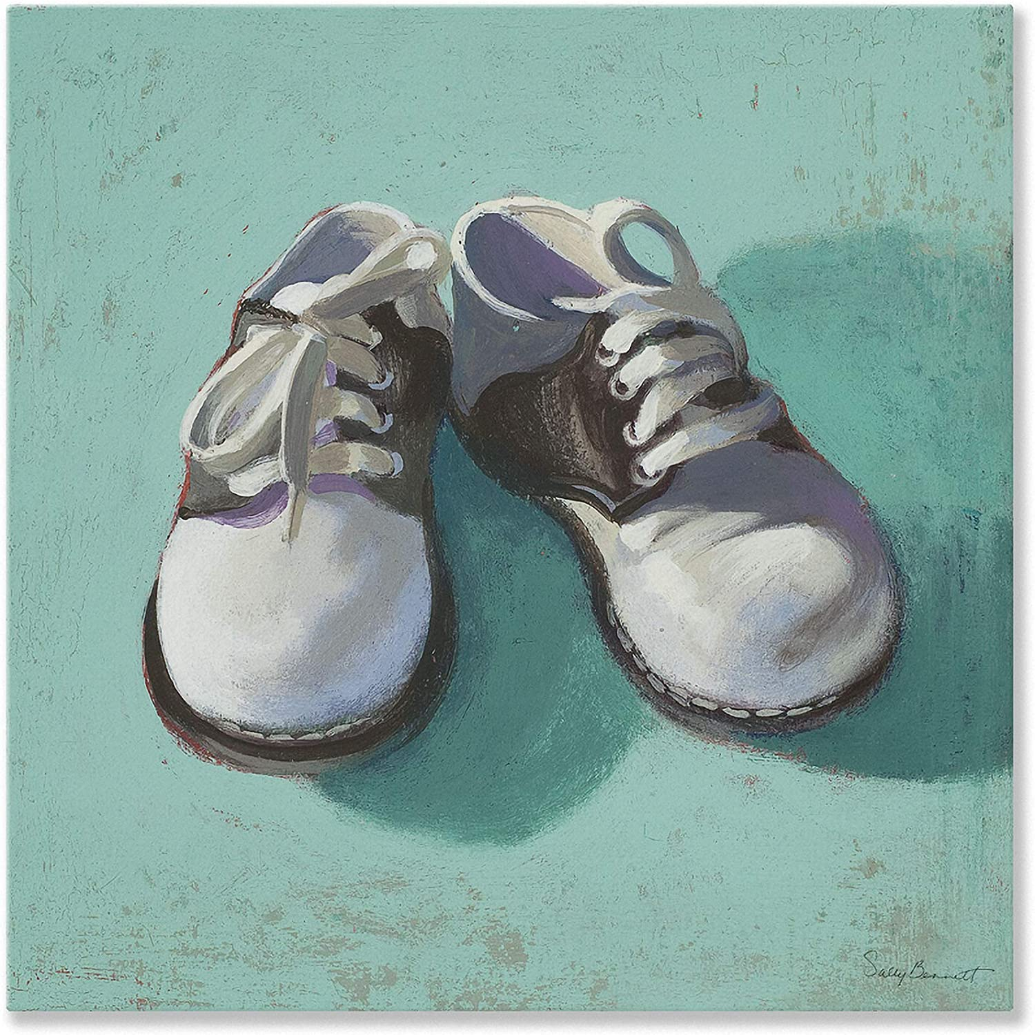 Oopsy Daisy Baby shoes Canvas Wall Art, Boy, 14  x 14