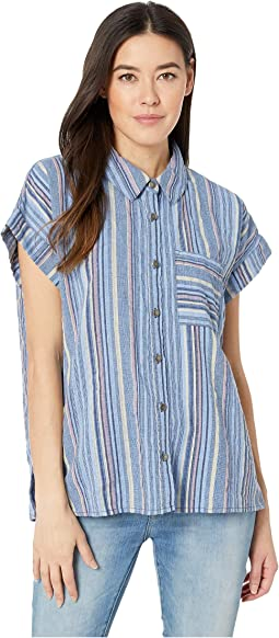 Short Sleeve Boxy Button Front Shirt in Linen Stripe
