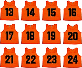 Oso Athletics Sets of 12 (1-12, 13-24) Premium Polyester Mesh Numbered Jerseys, Pinnies, Scrimmage Vests, Bibs for Youth and Adult Team Sports Soccer, Basketball, Football, Hockey, Lacrosse