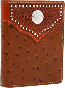 M&F Western - Nocona Tooled Basket and Concho w/ Ostrich Bi-Fold Wallet
