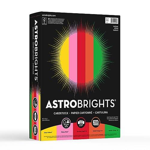 "Astrobrights Colored Cardstock, 8.5"" x 11"", 65 lb/176 gsm, ""Vintage"" 5-Color Assortment, 250 Sheets (21003)"