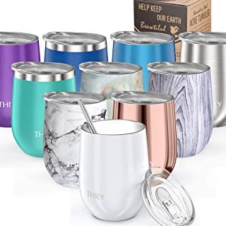 Vacuum Insulated Stemless Wine Tumbler - THILY T1 Stainless Steel Travel Wine Glass Cup for Wine, Coffee, Cocktails, with Lid, Reusable Straw, 12 oz, Cute Birthday Christmas Gift, Pearl White