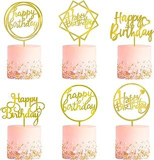 کیک پخت و پز 6 پیک، گلدان دو طرفه، آکرولیک کیک تولدت مبارک، کیک کیک بالا، دکوراسیون سال نو برای کودکان و بزرگسالان.