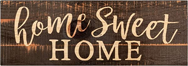 P Graham Dunn Home Sweet Home Script Design Black Distressed 16 X 6 Inch Solid Pine Wood Plank Wall Plaque Sign