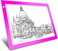 Pink A4 Dimmable LED Artcraft Light Box Tracer Slim Light Pad Portable Tablet, USB Power Cable Copy Drawing Board Tracing Table for Artists Designing, Animation, Sketching, Stenciling X-ray Viewing