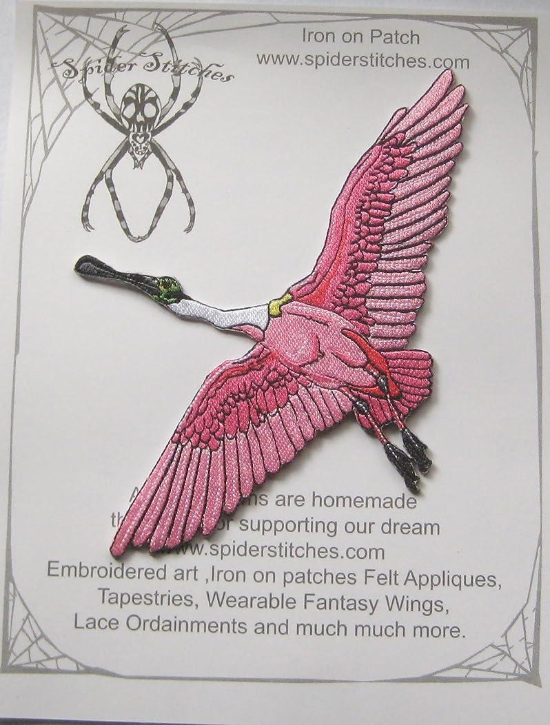 Roseate Spoon Bill in Flight Bird Iron On Patch Spoonbill