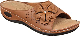 XE Looks Doctor Sole Comfortable Slippers for Women (Cream/Tan)