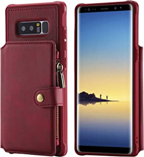 Note 8 Leather Case Samsung Galaxy,Red Wallet Zipper Protective Cash Credit Card Holder ID Window Durable High Capacity with Stand Cover Shell