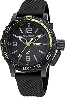 Nautica Men's Stainless Steel Quartz Silicone Strap, Black, 22 Casual Watch (Model: NAPGLF114)