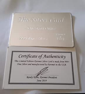 1 oz Silver Bar The Silver Card by Pyromet .999 Silver Bullion (Fits in Your Wallet)
