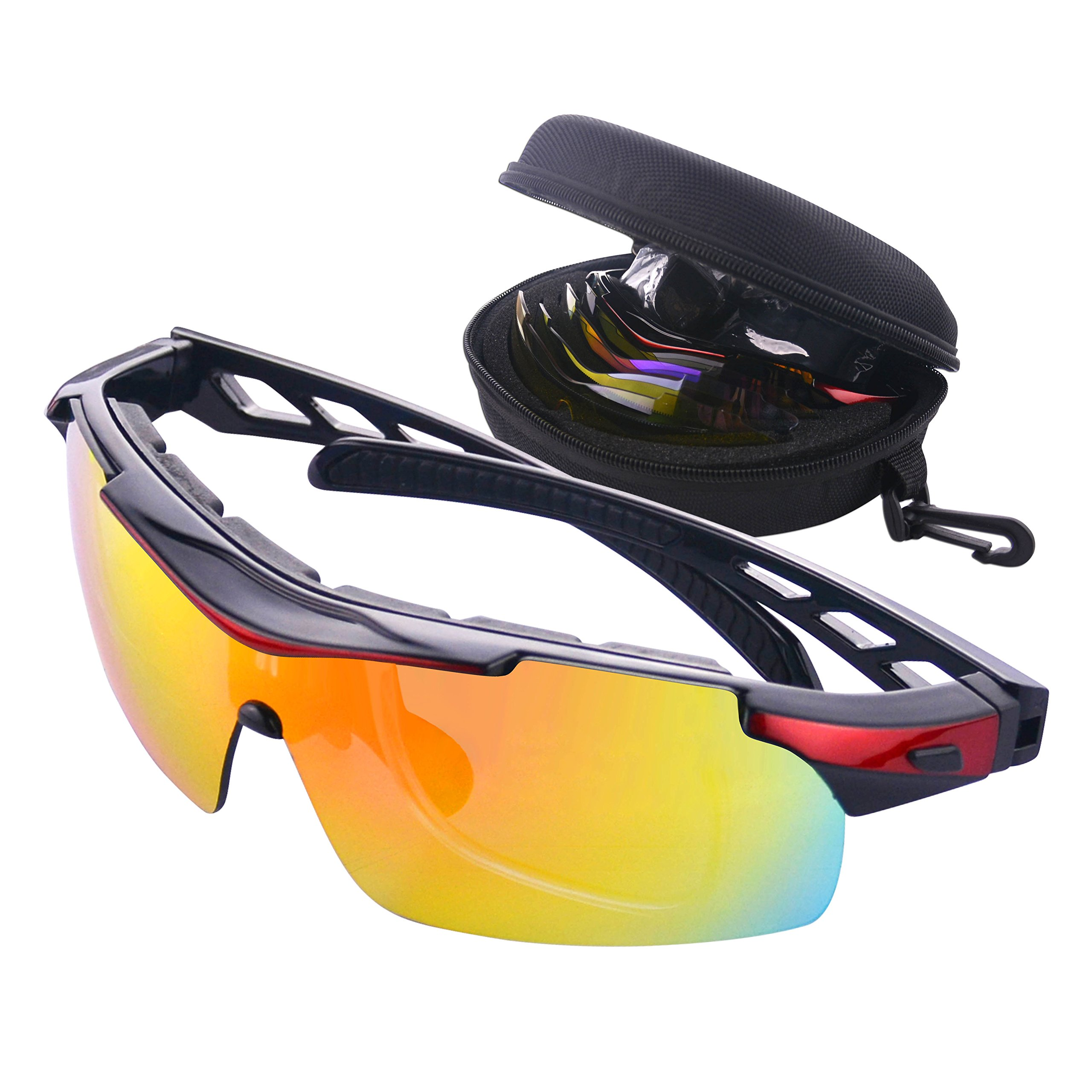 Gafas de Ciclismo Unisex Gafas de Sol de Deportivas Bici Polarizadas 5 Lentes Intercambiables para Hombre y Mujer Deporte Bicicleta Ciclismo Montaña MTB Conducir Pesca Ski Esquiar Golf Correr (Rojo): Amazon.es: Deportes