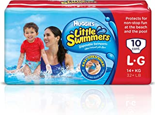 Huggies Little Swimmers  Disposable Swim Diapers, Swimpants, Size 5-6 Large (over 32 lb.), 10 Ct. (Packaging May Vary) Pack of 8