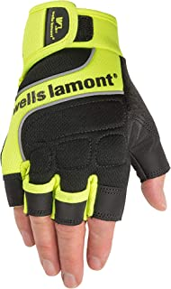 Wells Lamont Men's Hi-Viz Fingerless Synthetic Leather Work Gloves, Large (841YL)
