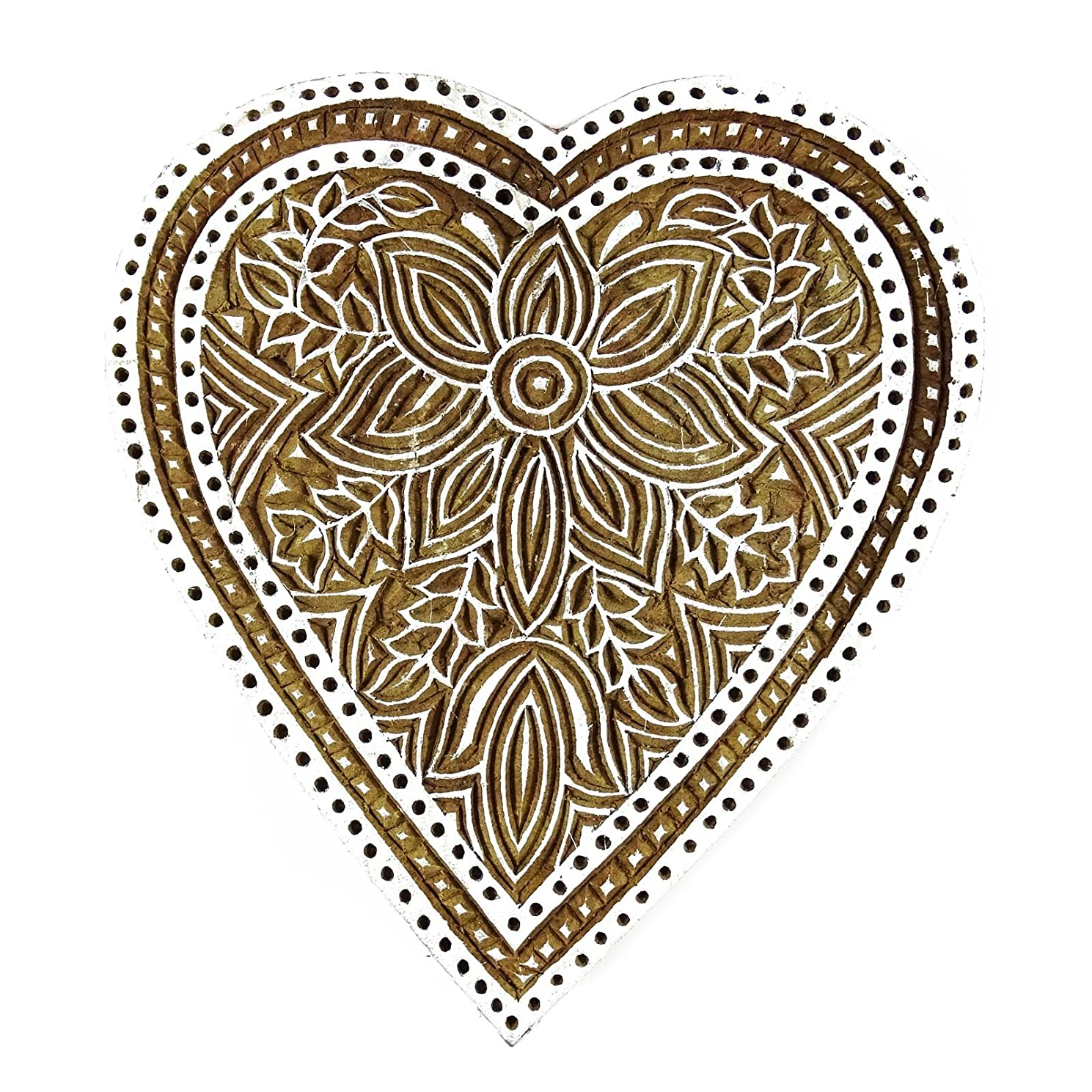 Handcarved Heart Shape Floral Printing Block Wooden Pottery Stamps Blockprint