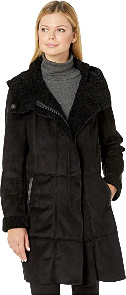 Hooded Faux Shearling Zipper Front