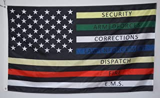 Astany Police Fire Thin Multi Line Red Blue Green Support Banner Flag 3x5ft