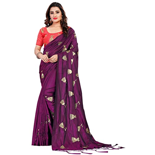 c13a612601 Vastrang Women's Paper Silk Embroidered Saree with Tassels & Blouse, ...