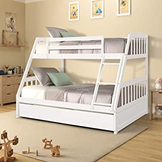 Merax Solid Wood Twin Over Full Bunk Bed with Two Storage Drawers and Removable Ladder, White