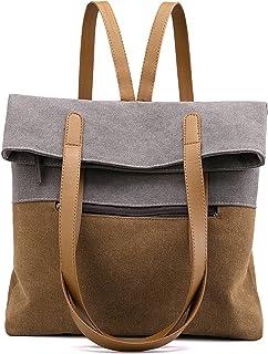 VOLGANIK ROCK Canvas Umhängetasche Damen Große Handtasche Canvas Rucksack Schultertasche Multifunktionstasche für Frauen S...