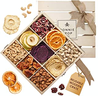 Natural Dried Fruit & Nut Gift Basket, No Sulfur Dioxide or added sugars, Healthy Gift, with Dragon Fruit, Reusable Wood Crate, Great for Easter, Father's Day, Feel Better, Birthday - Bonnie & Pop