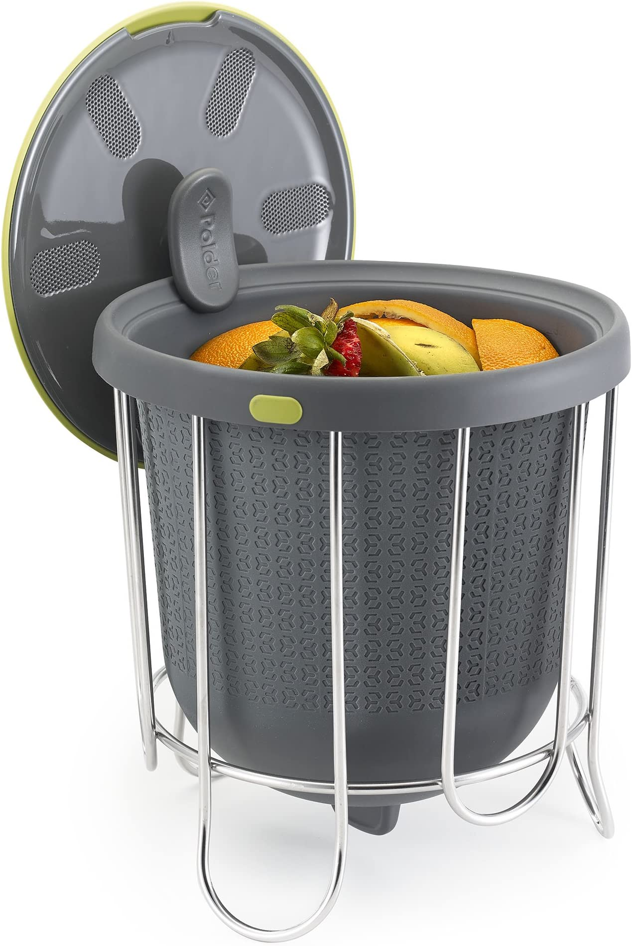 Polder Kitchen Composter-Flexible silicone bucket inverts for emptying and cleaning - no need to touch contents- adjustable lid for ventilation & airflow control, Gray / Green