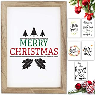 Farmhouse Wall Decor Signs With 10 Interchangeable Sayings For Christmas &..