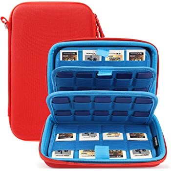 Game Case Have 72 in 1Game Cartridge Holders Storage Bag for Nintendo Swicth 3DS/2DS/DS/PS Vita Micro/SD Memory Cards.(Red)