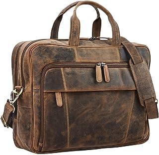 """STILORD Jaron"""" Vintage Ledertasche Leder Herren Damen 15,6 Zoll Laptoptasche Umhängetasche groß Aktentasche Arbeit Büro Uni echtes Rindsleder"""