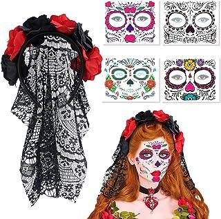 LOVEXIU Halloween Dia De Los Muertos Velo De Diadema,Diadema De Flores Halloween,Tatuaje De Cara De Halloween Temporal,par...