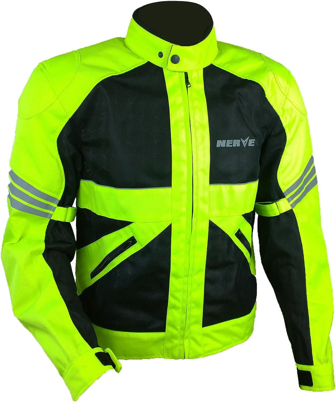 Nerve Shop Leichte Dünne Mesh Motorradjacke Go Roller Motorrad Jacke Herren Kurze Textil Männer Protektorenjacke Sommerjacke Luftdurchlässig Schwarz Neon Grün Gelb Xl Auto