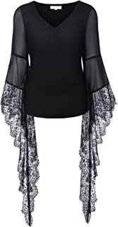 Women Vintage Gothic Lace T Shirt Tops Sheer Long Sleeve V-Neck BP000349