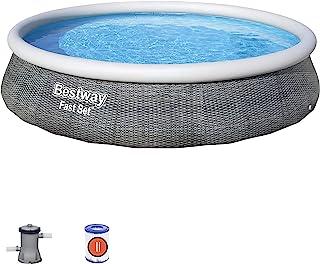 Bestway BW57376GB Piscina Fast Set con Estampado de ratán, 3,96 m x 84 cm, Gris