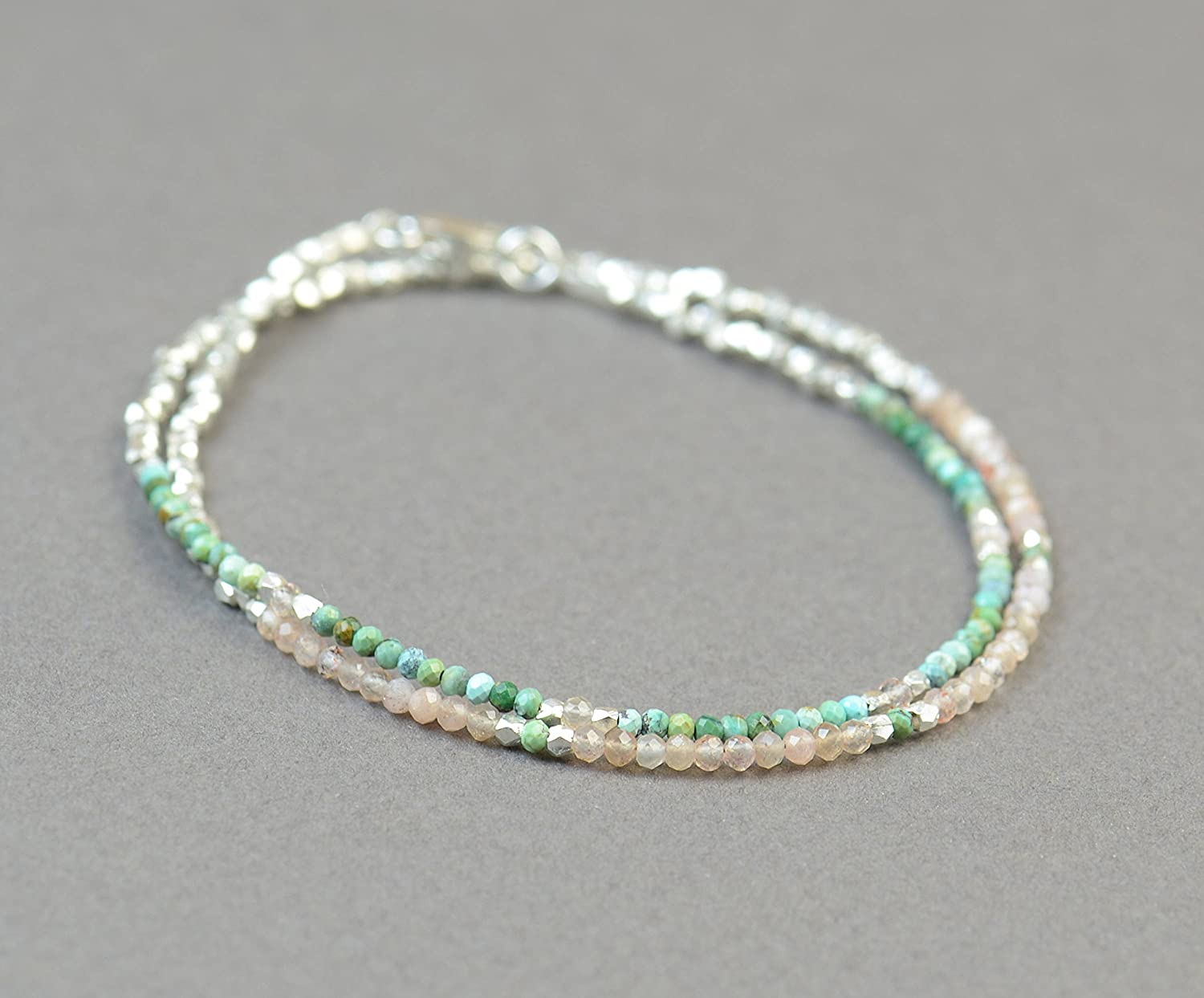 Double strand multi gemstones and shopping beads silver sterling bracelet San Jose Mall