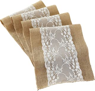 DegGod 3 Pack 12X108 Inches Natural Burlap Lace Hessian Table Runner Vintage Jute Rustic Tablecloth for Country Wedding Baby Shower Party Kitchen Dining Room Farmhouse Decoratio(Burlap)