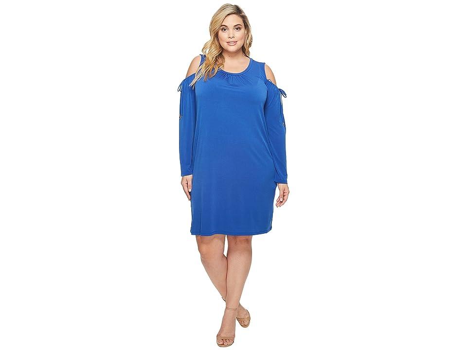 MICHAEL Michael Kors Plus Size Solid Matte Jersey Cold Shoulder Dress (Bright Royal) Women