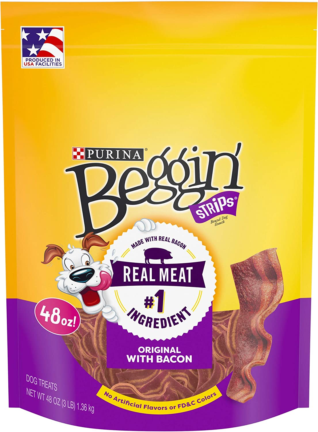 Purina Beggin' Bacon Flavor Dog Snacks  (1) 48 oz. Pouch