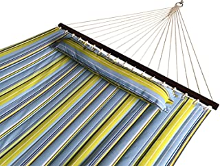 SueSport New Hammock Quilted Fabric with Pillow Double Size Spreader Bar Heavy Duty-Light Blue/Green