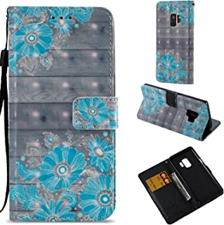 HAOTP Galaxy S9 Wallet Case, 3D Beauty Luxury Fashion PU Flip Stand Credit Card ID Holders Wallet Leather Case Cover for Samsung Galaxy S9 Floral Flower Pattern