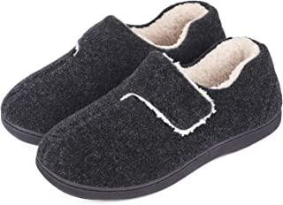 Men's Fuzzy Wool-Like Memory Foam Slippers Closed Back Fleece House Shoes with Adjustable Hook and Loop