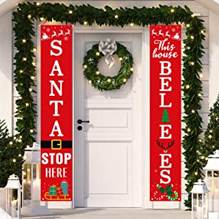 Dazonge Christmas Decorations Outdoor Indoor | Santa Stop Here & This House Believes Vertical Signs | Vintage Christmas Po...