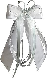 15 Antennenschleifen Autoschleifen Autoschmuck Heart Hochzeit in verschiedenen Farben erhältlich weiß/Silber/grau SCH0134