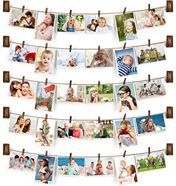 Emfogo Collage Picture Frames Hanging Photo Display Rustic Wood Photo Frame Collage with 30 Wood Clips Wall Art Decoration fo