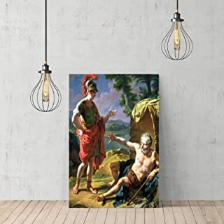 """VinMea Wooden Frame Art Prints of Oil Paintings - Alexander and Diogenes Canvas Home Decor Wooden Framed 12"""" X 16"""""""